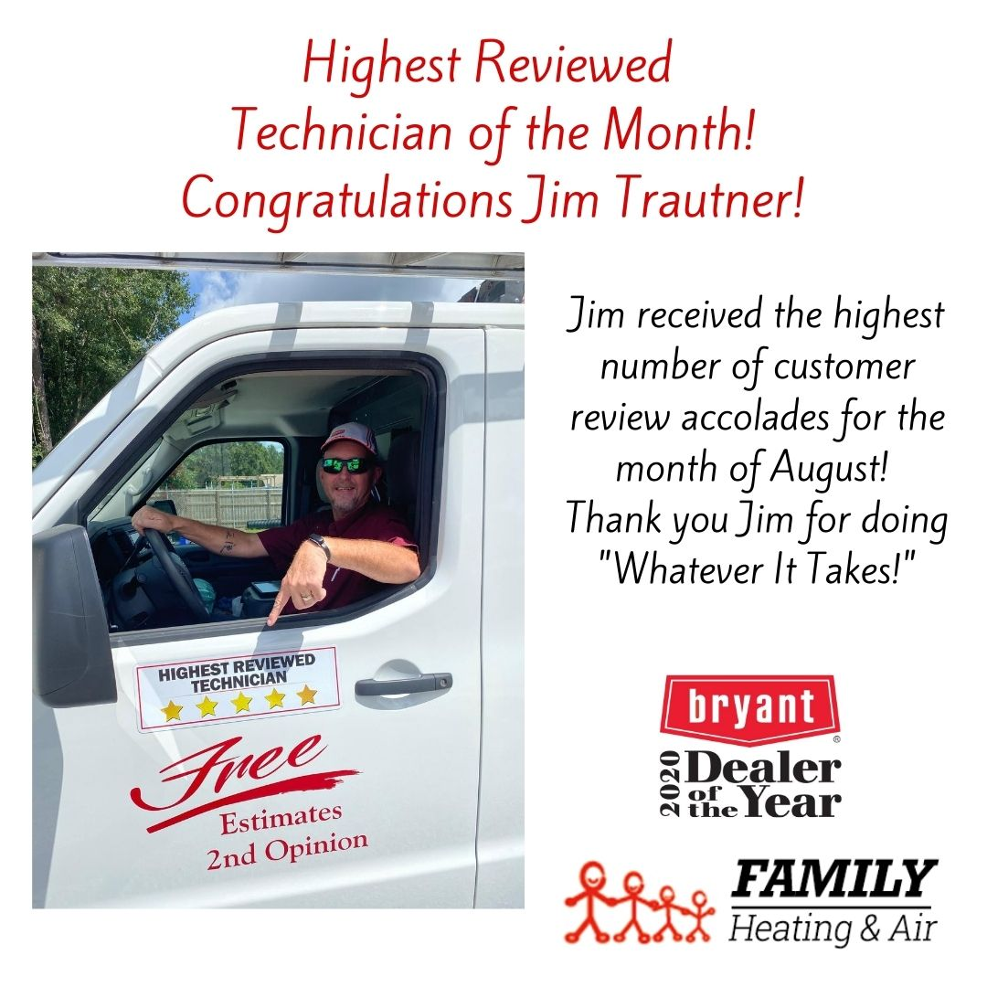 Highest Reviewed Technician of the Month! Congratulations Jim Trautner!
