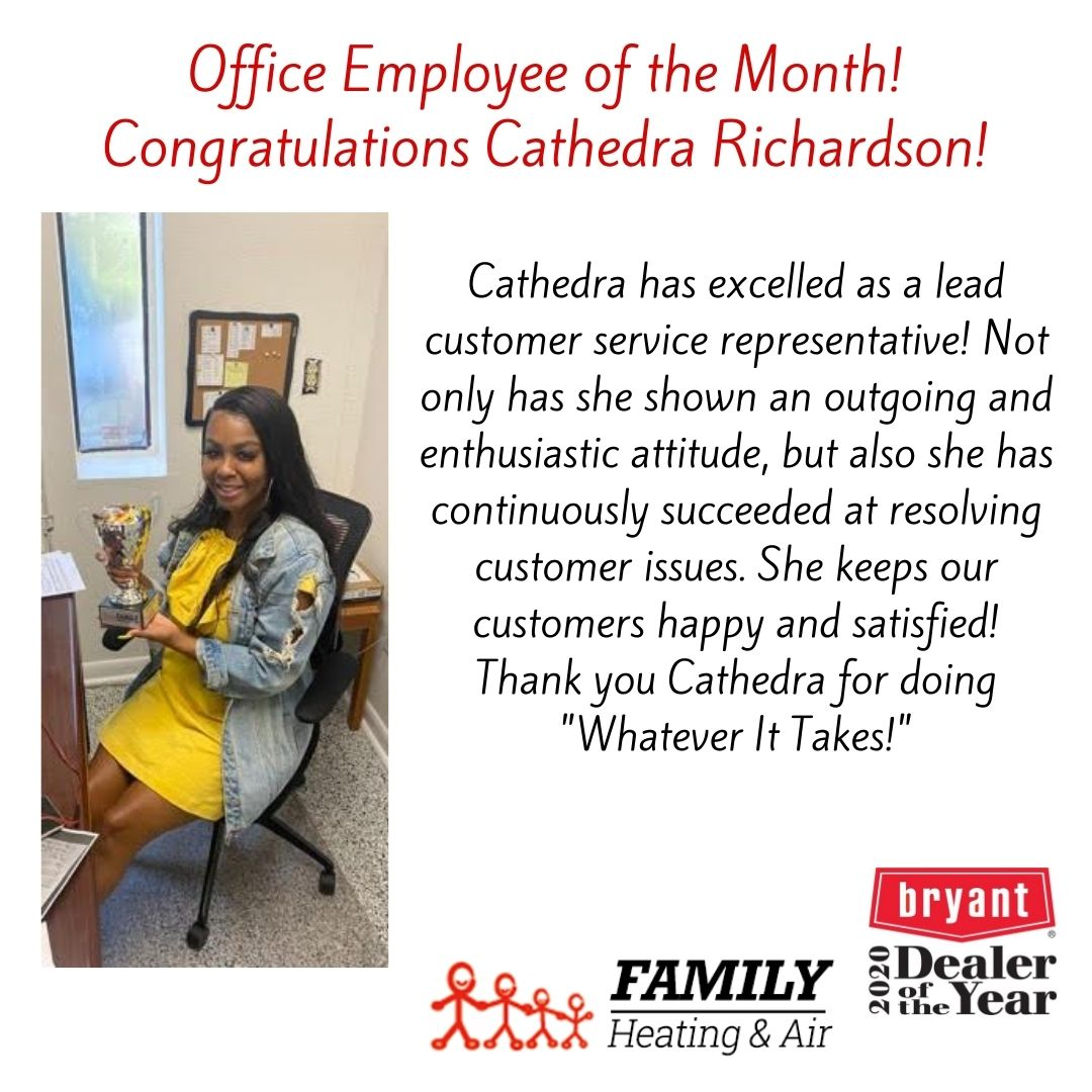 Office Employee of the Month! Congratulations Cathedra Richardson!
